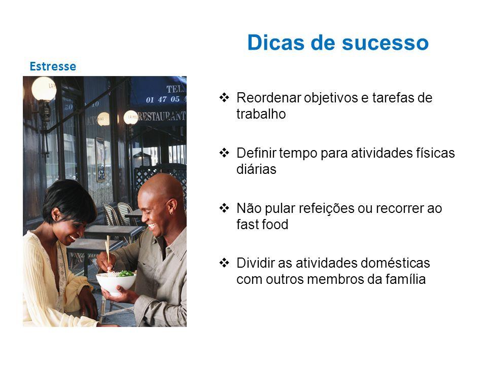 Estresse Dicas de sucesso Reordenar objetivos e tarefas de trabalho Definir tempo para atividades físicas diárias Não pular refeições ou recorrer ao f