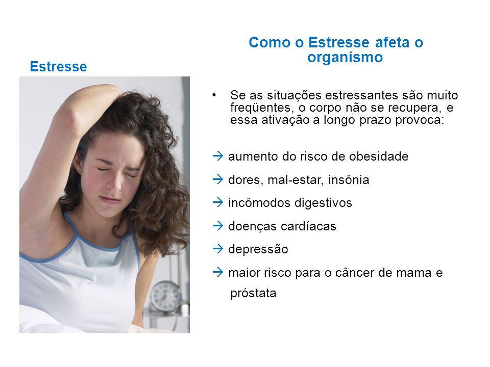 Estresse Como o Estresse afeta o organismo Se as situações estressantes são muito freqüentes, o corpo não se recupera, e essa ativação a longo prazo p