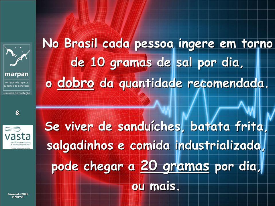 Copyright 2009 MARPAN & No Brasil cada pessoa ingere em torno de 10 gramas de sal por dia, o dobro da quantidade recomendada. Se viver de sanduíches,