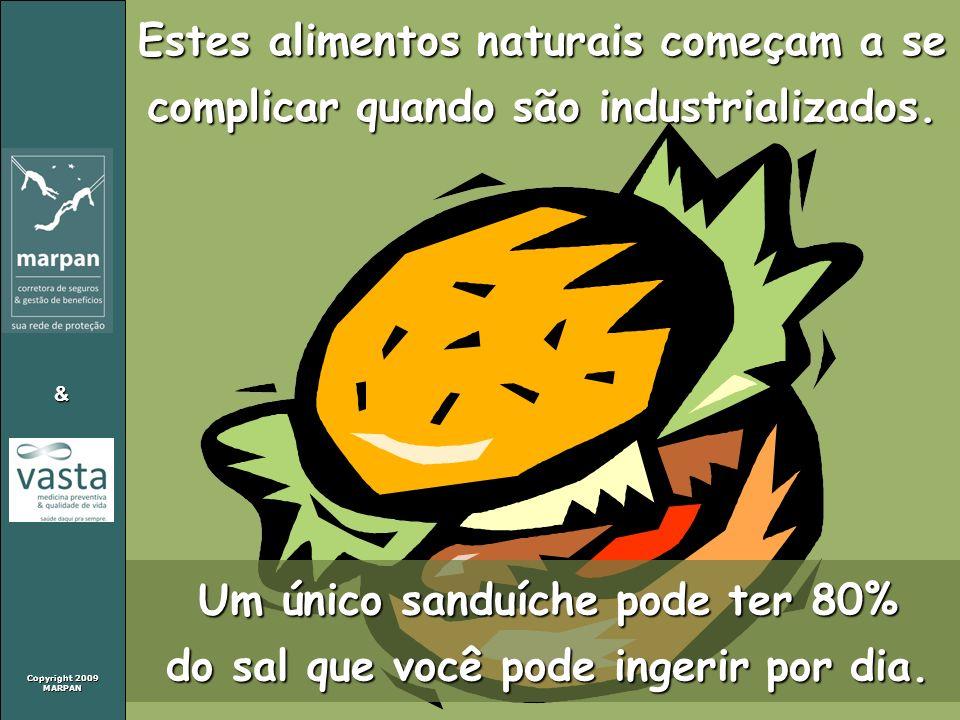 Copyright 2009 MARPAN & Estes alimentos naturais começam a se complicar quando são industrializados. Um único sanduíche pode ter 80% do sal que você p