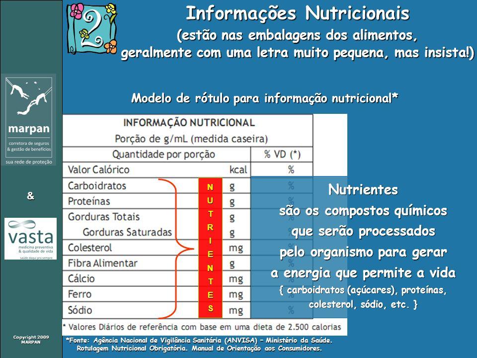 Copyright 2009 MARPAN & Informações Nutricionais (estão nas embalagens dos alimentos, geralmente com uma letra muito pequena, mas insista!) Modelo de