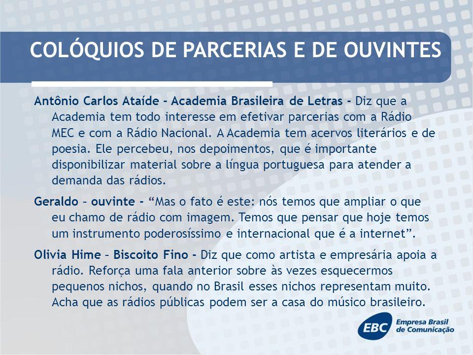 COLÓQUIOS DE PARCERIAS E DE OUVINTES Antônio Carlos Ataíde - Academia Brasileira de Letras - Diz que a Academia tem todo interesse em efetivar parcerias com a Rádio MEC e com a Rádio Nacional.