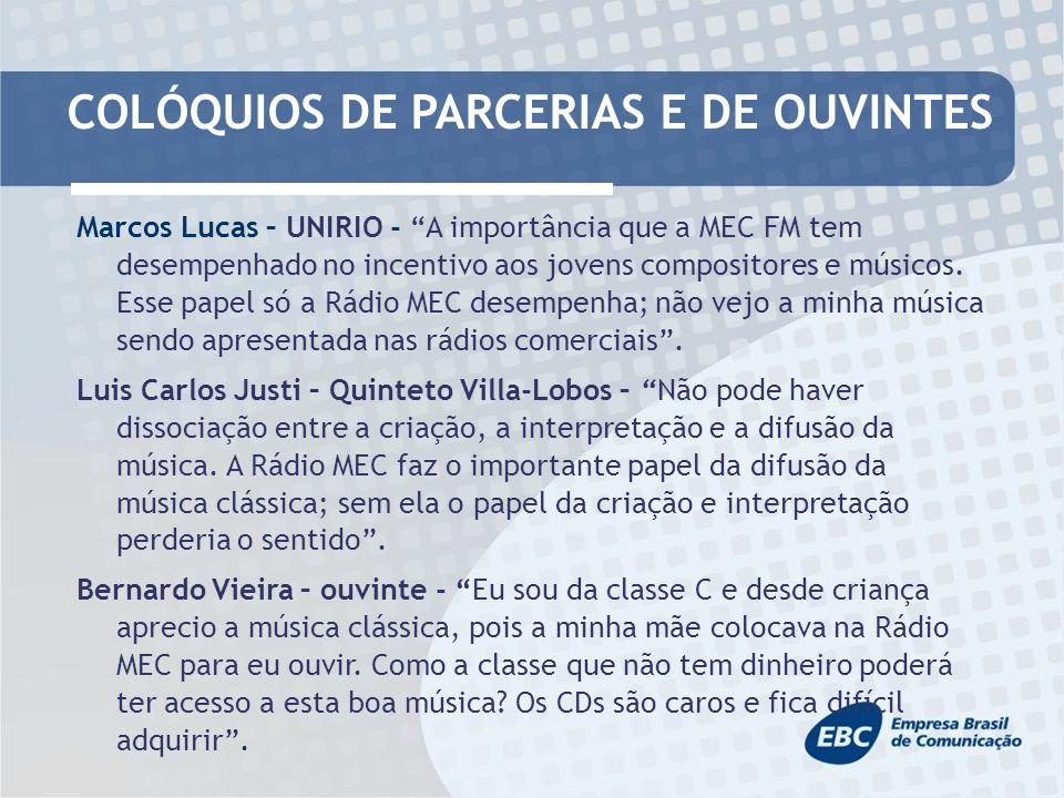 COLÓQUIOS DE PARCERIAS E DE OUVINTES Marcos Lucas – UNIRIO - A importância que a MEC FM tem desempenhado no incentivo aos jovens compositores e músicos.