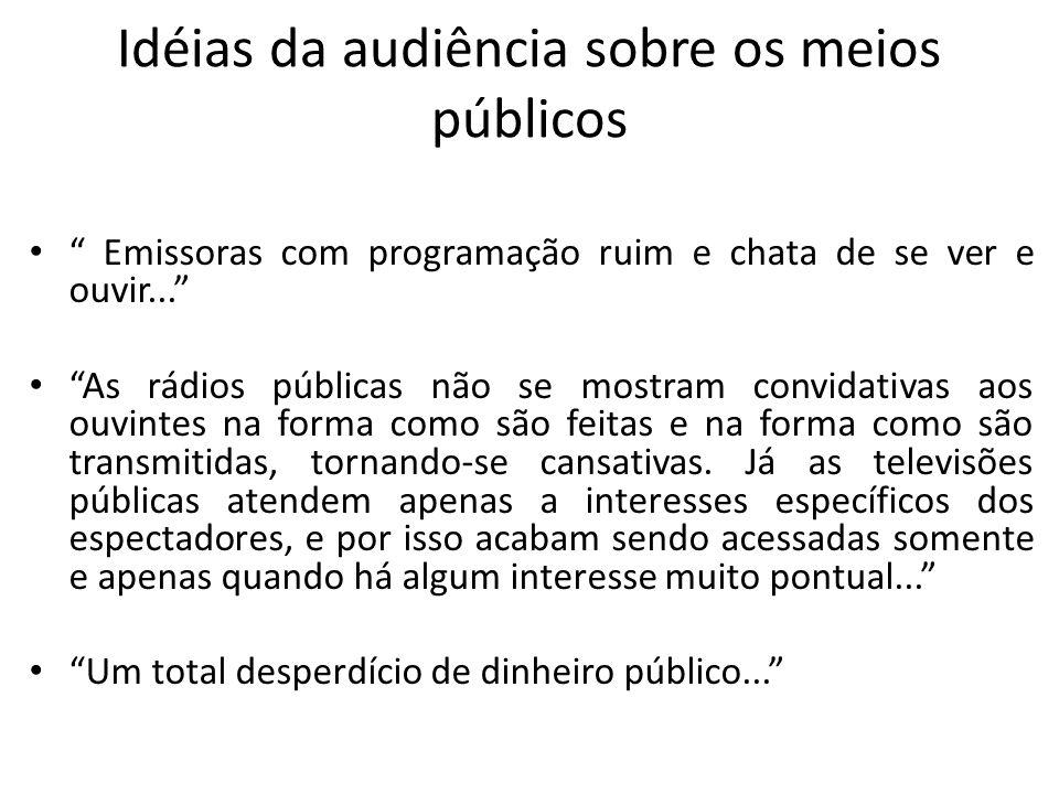 Idéias da audiência sobre os meios públicos Emissoras com programação ruim e chata de se ver e ouvir... As rádios públicas não se mostram convidativas