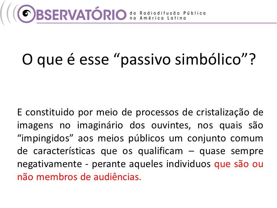 O que é esse passivo simbólico? E constituido por meio de processos de cristalização de imagens no imaginário dos ouvintes, nos quais sãoimpingidos ao