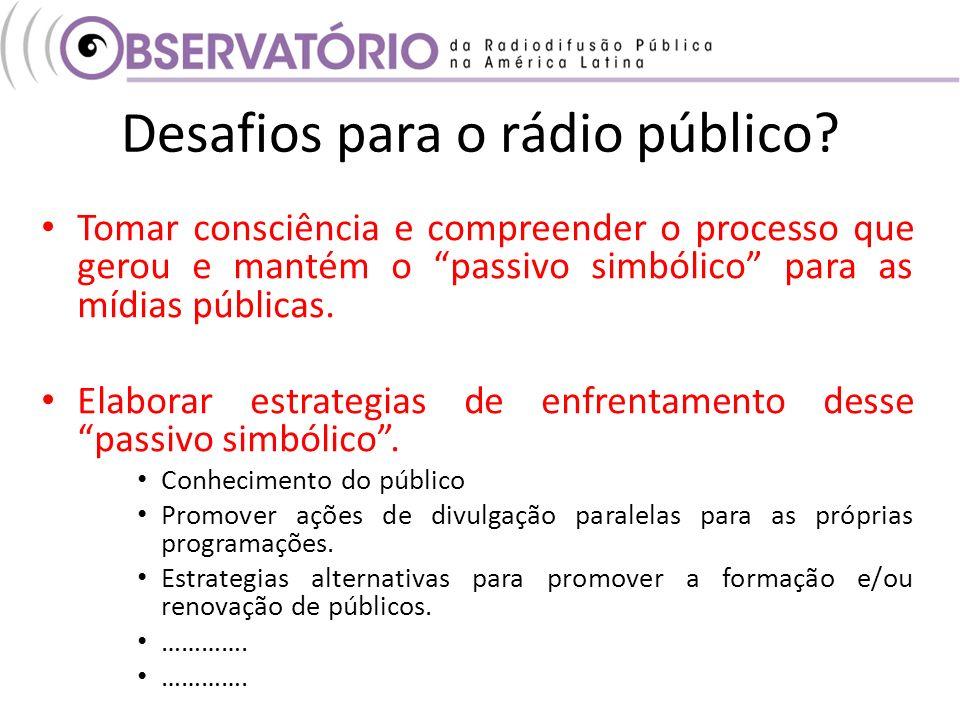 Desafios para o rádio público? Tomar consciência e compreender o processo que gerou e mantém o passivo simbólico para as mídias públicas. Elaborar est
