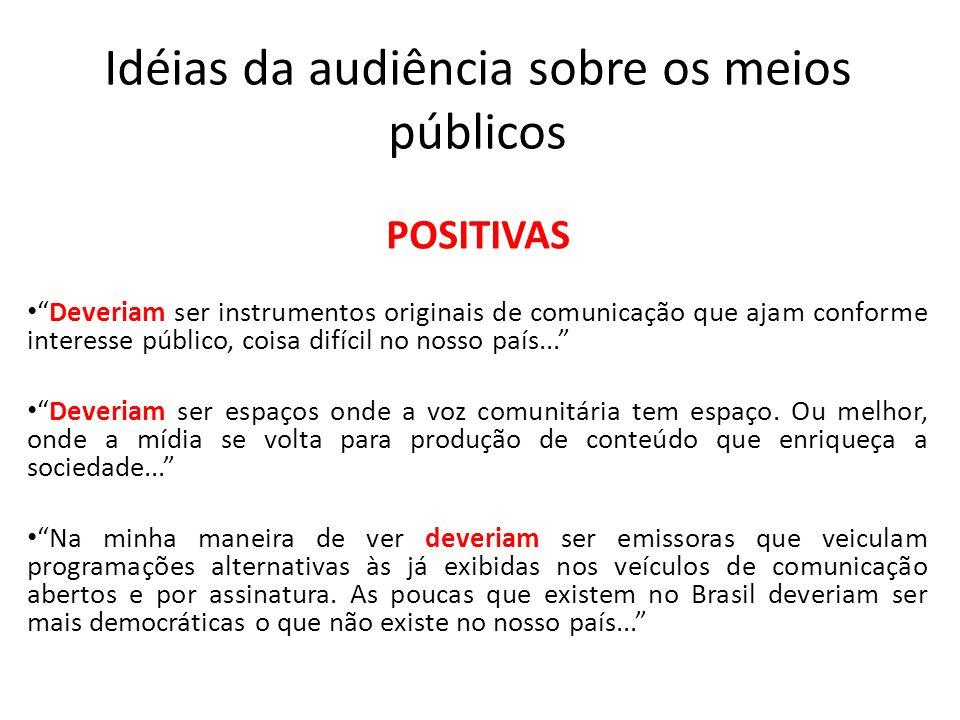 Idéias da audiência sobre os meios públicos POSITIVAS Deveriam ser instrumentos originais de comunicação que ajam conforme interesse público, coisa difícil no nosso país...