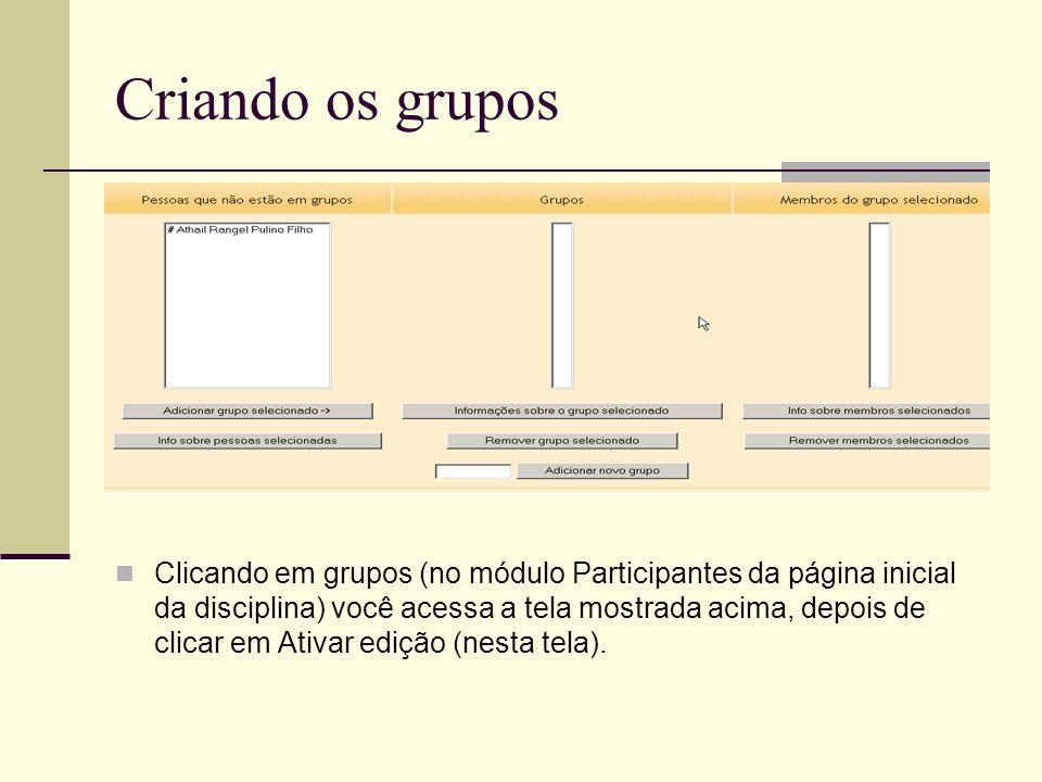 Criando os grupos Clicando em grupos (no módulo Participantes da página inicial da disciplina) você acessa a tela mostrada acima, depois de clicar em Ativar edição (nesta tela).