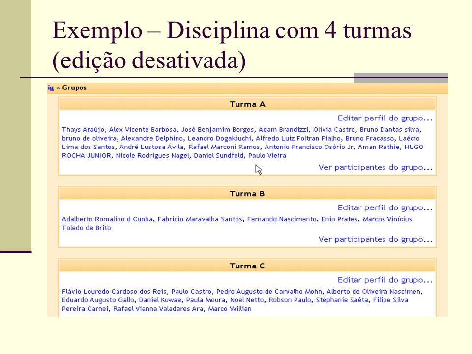 Exemplo – Disciplina com 4 turmas (edição desativada)