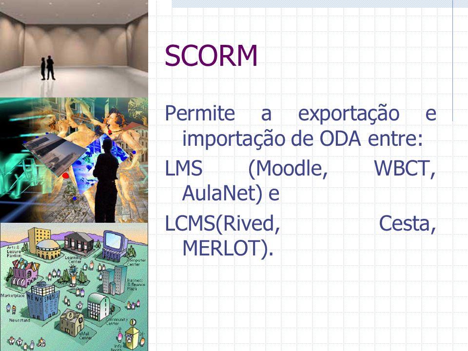SCORM Permite a exportação e importação de ODA entre: LMS (Moodle, WBCT, AulaNet) e LCMS(Rived, Cesta, MERLOT).