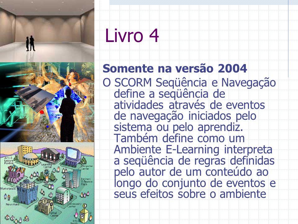 Livro 4 Somente na versão 2004 O SCORM Seqüência e Navegação define a seqüência de atividades através de eventos de navegação iniciados pelo sistema ou pelo aprendiz.
