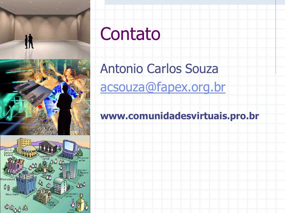 Contato Antonio Carlos Souza acsouza@fapex.org.br www.comunidadesvirtuais.pro.br