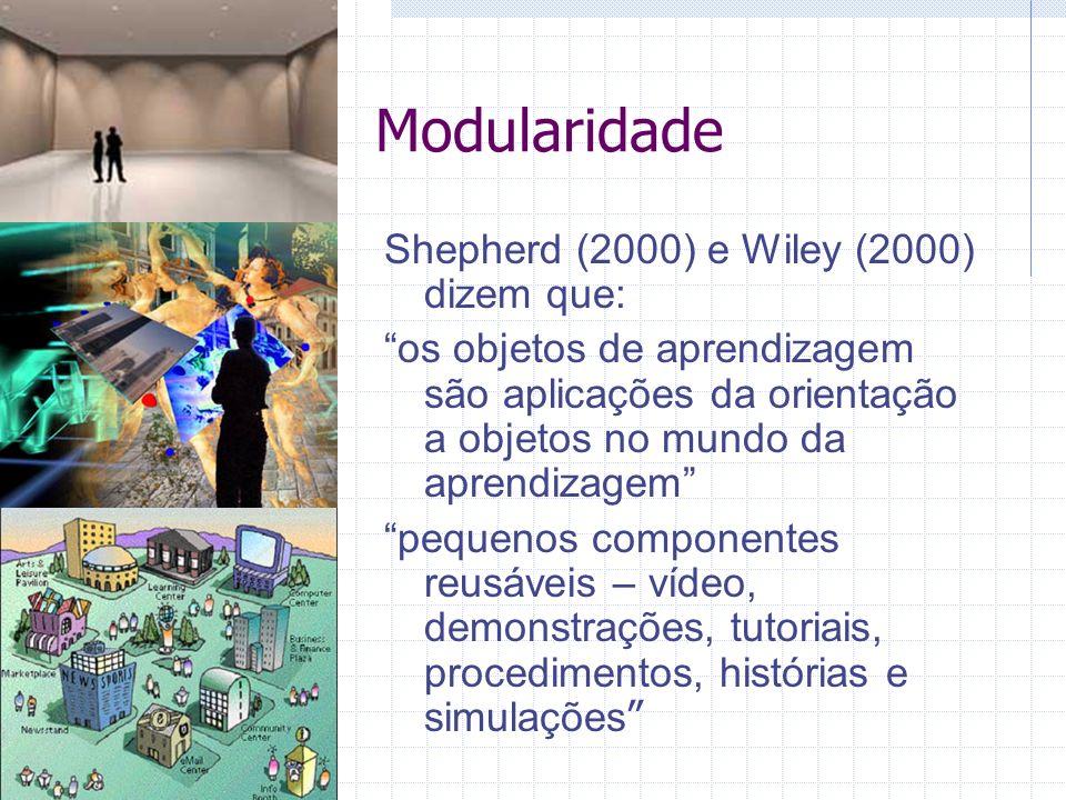 Modularidade Shepherd (2000) e Wiley (2000) dizem que: os objetos de aprendizagem são aplicações da orientação a objetos no mundo da aprendizagem pequenos componentes reusáveis – vídeo, demonstrações, tutoriais, procedimentos, histórias e simulações