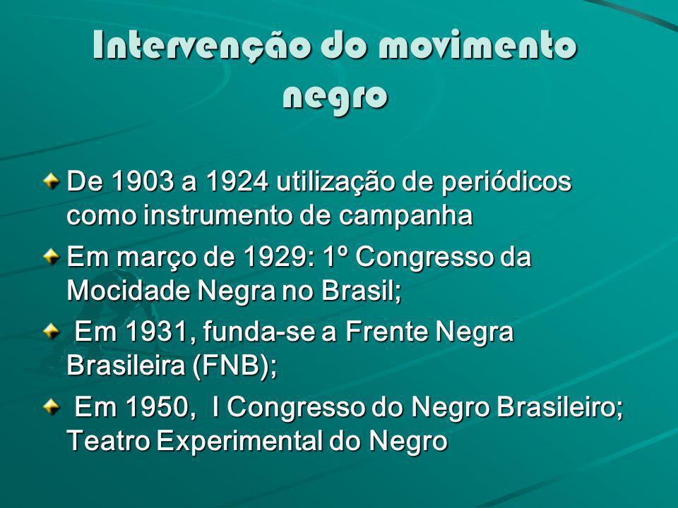 Intervenção do movimento negro De 1903 a 1924 utilização de periódicos como instrumento de campanha Em março de 1929: 1º Congresso da Mocidade Negra n