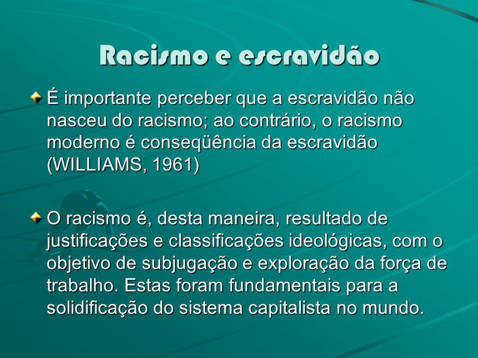 Racismo e escravidão É importante perceber que a escravidão não nasceu do racismo; ao contrário, o racismo moderno é conseqüência da escravidão (WILLI