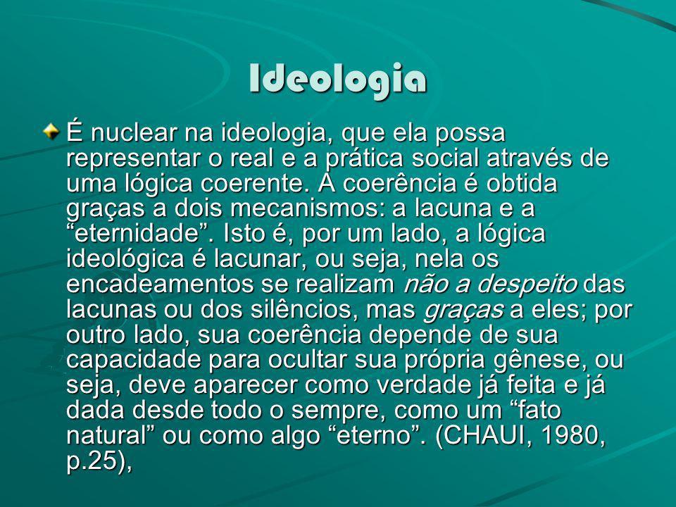 Ideologia É nuclear na ideologia, que ela possa representar o real e a prática social através de uma lógica coerente. A coerência é obtida graças a do
