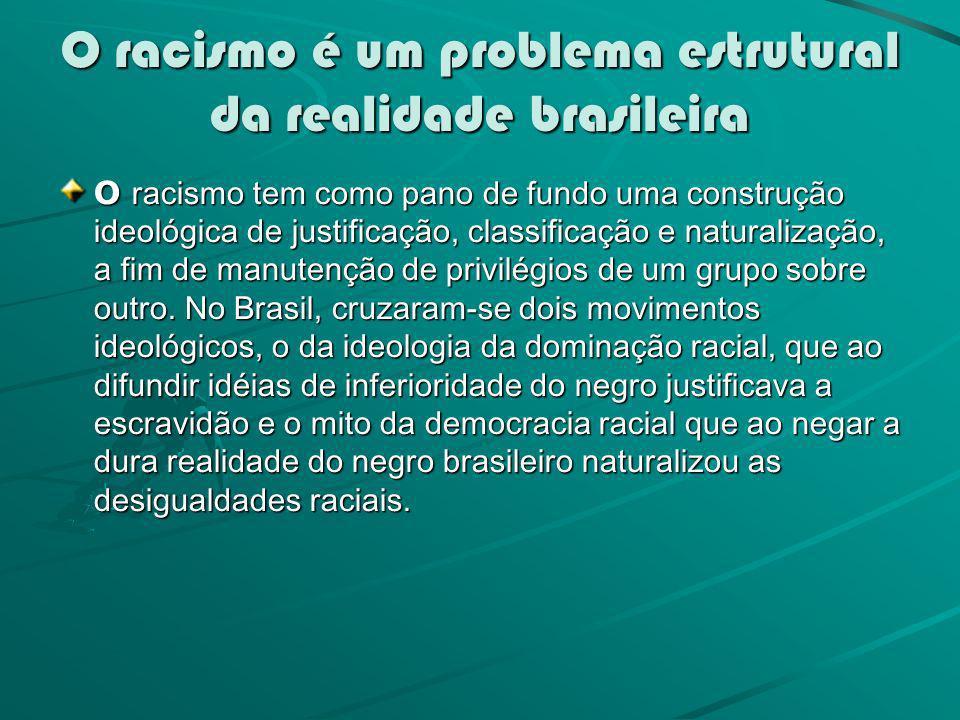 O racismo é um problema estrutural da realidade brasileira O racismo tem como pano de fundo uma construção ideológica de justificação, classificação e