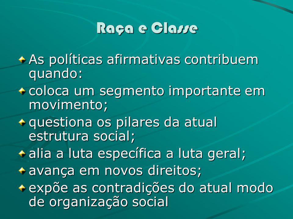 Raça e Classe As políticas afirmativas contribuem quando: coloca um segmento importante em movimento; questiona os pilares da atual estrutura social;