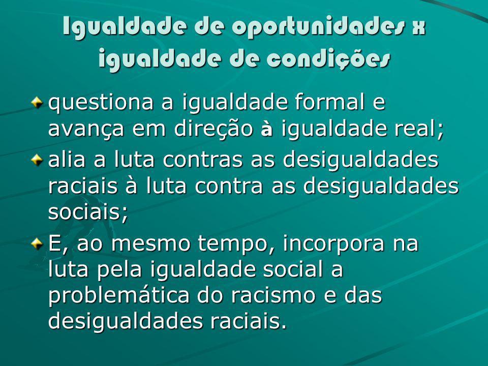 Igualdade de oportunidades x igualdade de condições questiona a igualdade formal e avança em direção à igualdade real; alia a luta contras as desigual