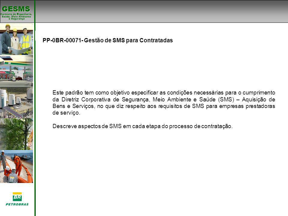 Gerência de Engenharia, Gerência de Engenharia, Saúde, Meio Ambiente e Segurança e Segurança GESMS Padrões de SMS PP-0BR-00071- Gestão de SMS para Con