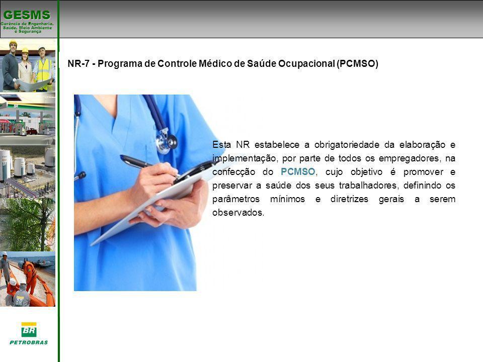 Gerência de Engenharia, Gerência de Engenharia, Saúde, Meio Ambiente e Segurança e Segurança GESMS Padrões de SMS NR-7 - Programa de Controle Médico d