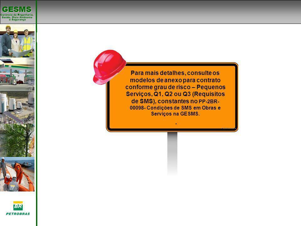 Gerência de Engenharia, Gerência de Engenharia, Saúde, Meio Ambiente e Segurança e Segurança GESMS Padrões de SMS Para mais detalhes, consulte os mode