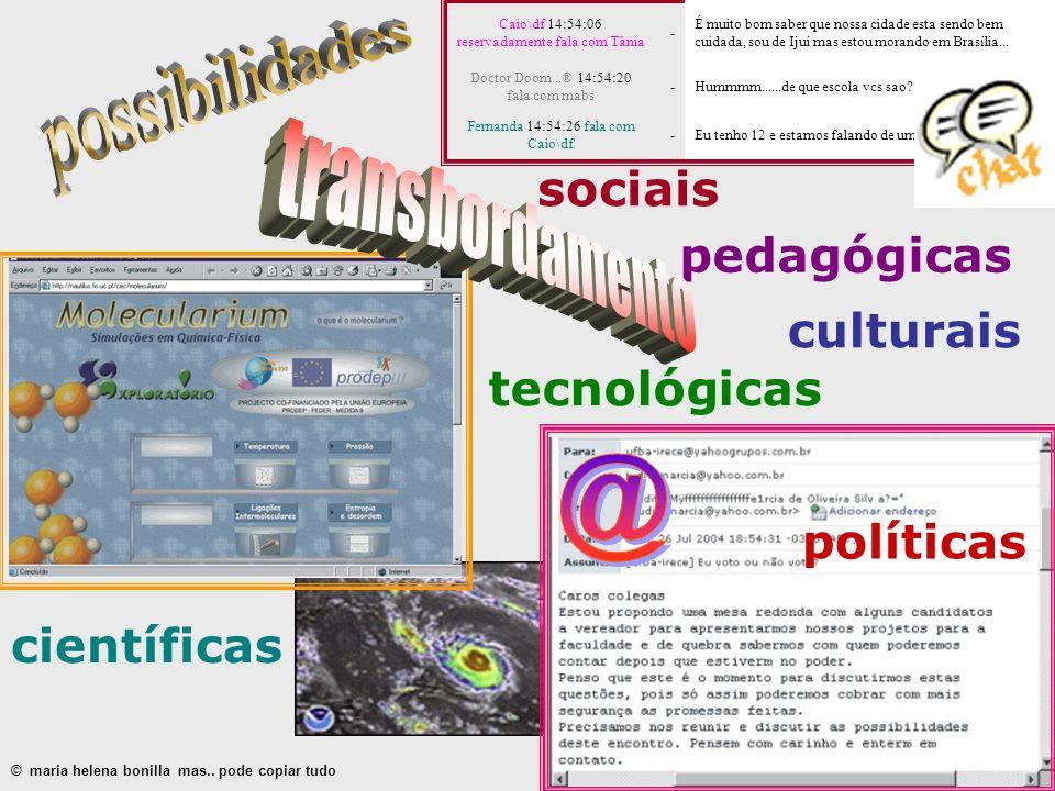 políticas pedagógicas culturais sociais científicas © maria helena bonilla mas.. pode copiar tudo Caio\df 14:54:06 reservadamente fala com Tânia - É m