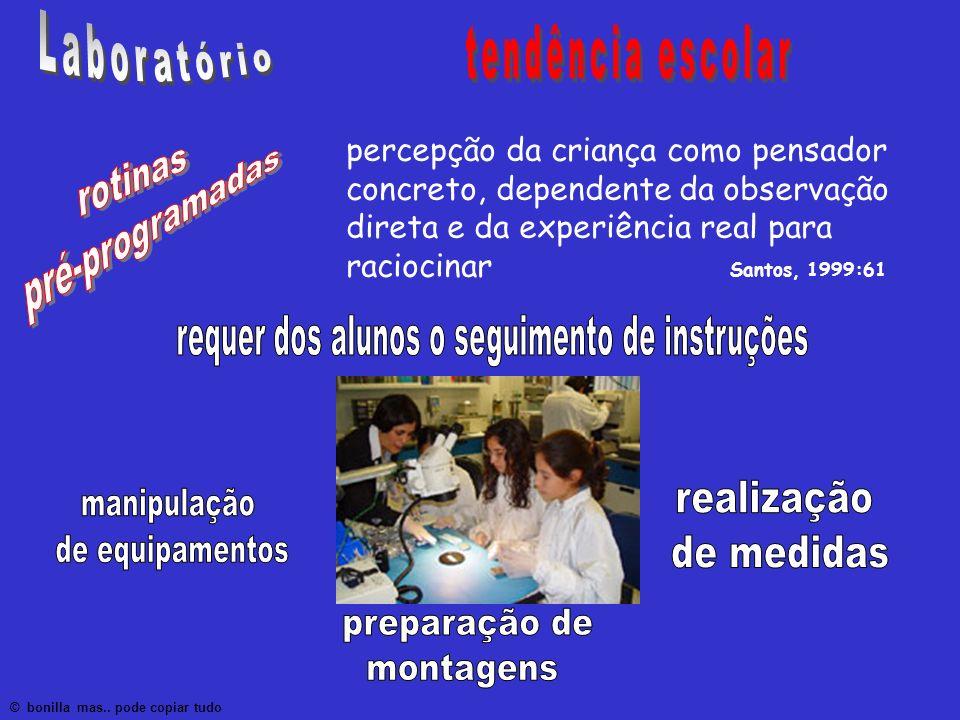 percepção da criança como pensador concreto, dependente da observação direta e da experiência real para raciocinar Santos, 1999:61 © bonilla mas.. pod