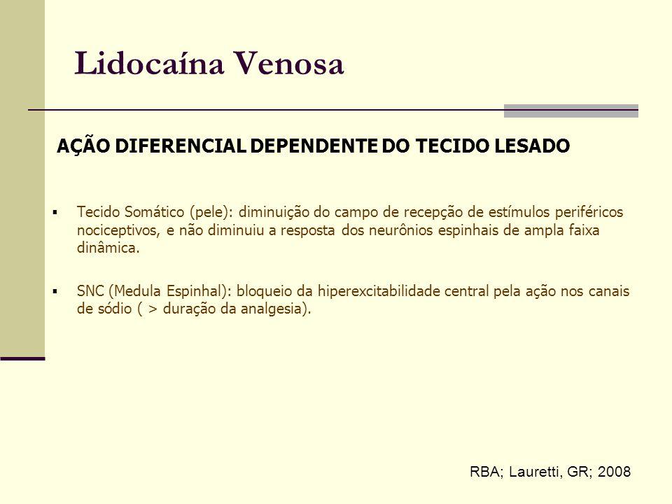 Lidocaína Venosa Tecido Somático (pele): diminuição do campo de recepção de estímulos periféricos nociceptivos, e não diminuiu a resposta dos neurônios espinhais de ampla faixa dinâmica.