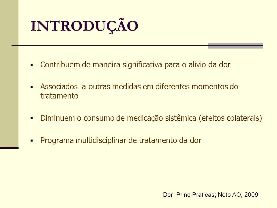 INTRODUÇÃO Contribuem de maneira significativa para o alívio da dor Associados a outras medidas em diferentes momentos do tratamento Diminuem o consumo de medicação sistêmica (efeitos colaterais) Programa multidisciplinar de tratamento da dor Dor Princ Praticas; Neto AO, 2009