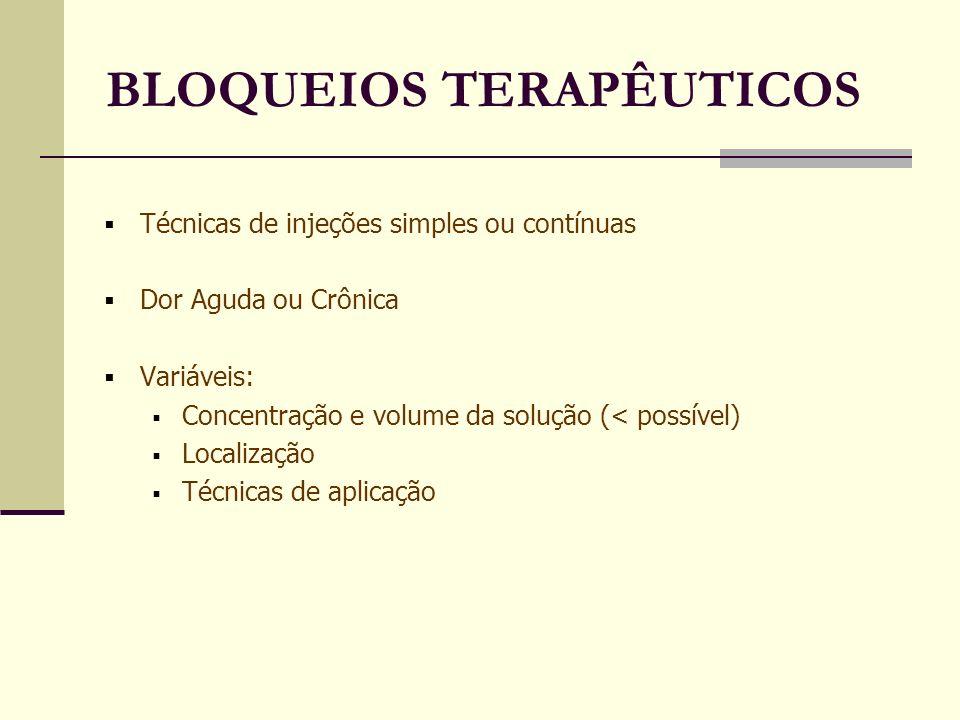BLOQUEIOS TERAPÊUTICOS Técnicas de injeções simples ou contínuas Dor Aguda ou Crônica Variáveis: Concentração e volume da solução (< possível) Localização Técnicas de aplicação