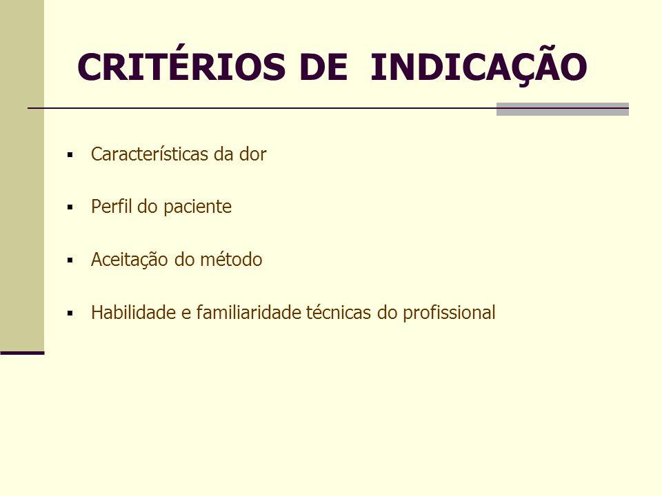 CRITÉRIOS DE INDICAÇÃO Características da dor Perfil do paciente Aceitação do método Habilidade e familiaridade técnicas do profissional