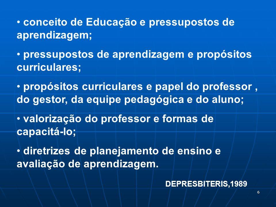 6 conceito de Educação e pressupostos de aprendizagem; pressupostos de aprendizagem e propósitos curriculares; propósitos curriculares e papel do prof