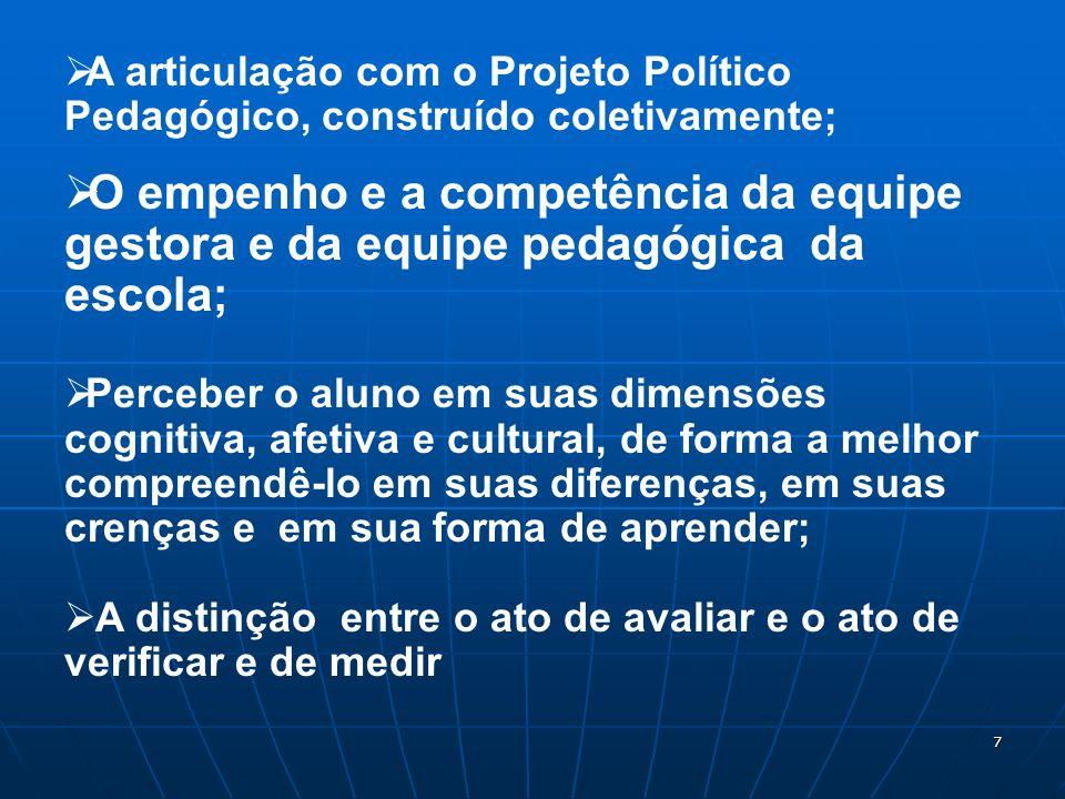 7 A articulação com o Projeto Político Pedagógico, construído coletivamente; O empenho e a competência da equipe gestora e da equipe pedagógica da esc