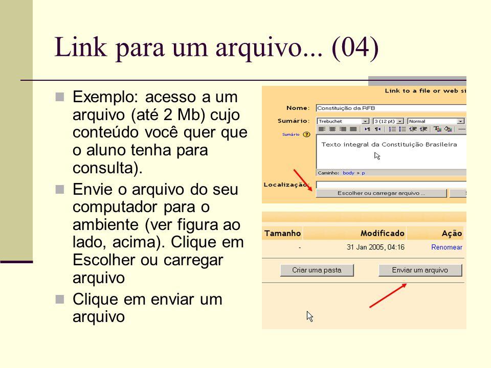 Link para um arquivo... (04) Exemplo: acesso a um arquivo (até 2 Mb) cujo conteúdo você quer que o aluno tenha para consulta). Envie o arquivo do seu