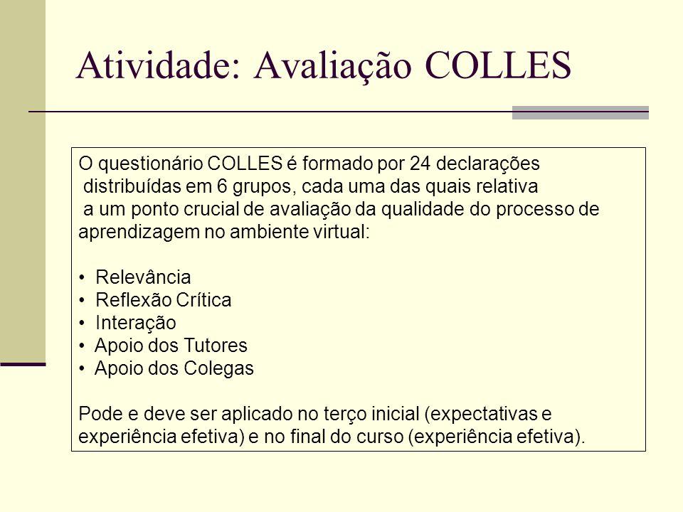 Atividade: Avaliação COLLES O questionário COLLES é formado por 24 declarações distribuídas em 6 grupos, cada uma das quais relativa a um ponto crucia