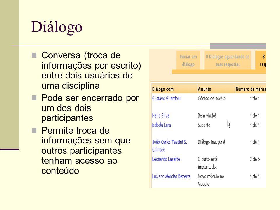 Diálogo Conversa (troca de informações por escrito) entre dois usuários de uma disciplina Pode ser encerrado por um dos dois participantes Permite tro