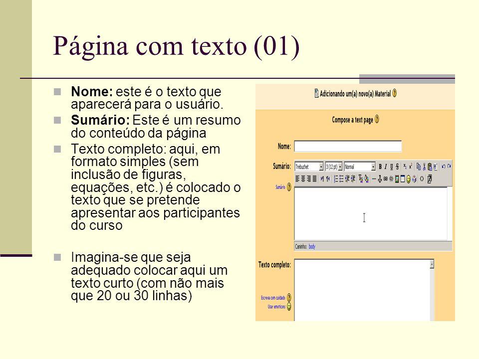 Página com texto (01) Nome: este é o texto que aparecerá para o usuário. Sumário: Este é um resumo do conteúdo da página Texto completo: aqui, em form