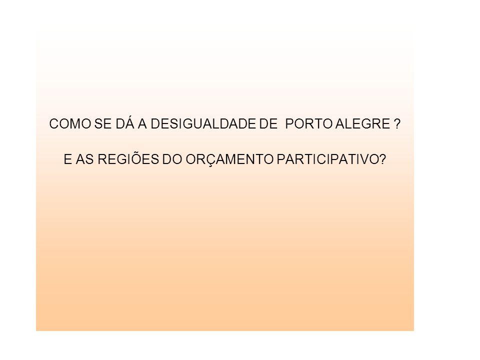COMO SE DÁ A DESIGUALDADE DE PORTO ALEGRE E AS REGIÕES DO ORÇAMENTO PARTICIPATIVO