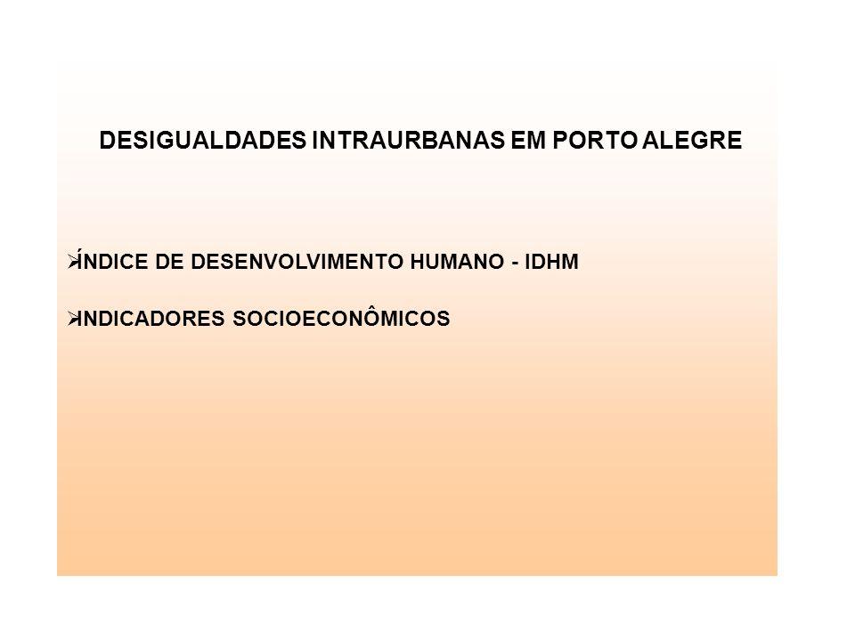 DESIGUALDADES INTRAURBANAS EM PORTO ALEGRE ÍNDICE DE DESENVOLVIMENTO HUMANO - IDHM INDICADORES SOCIOECONÔMICOS