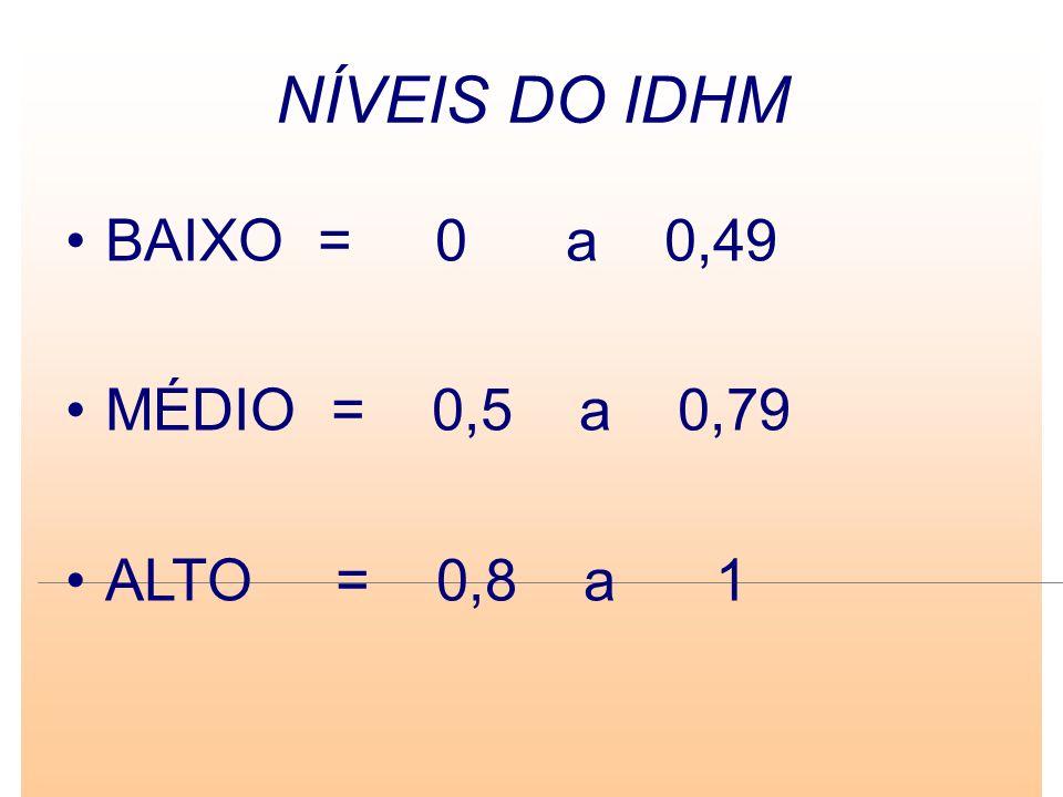 NÍVEIS DO IDHM BAIXO = 0 a 0,49 MÉDIO = 0,5 a 0,79 ALTO = 0,8 a 1