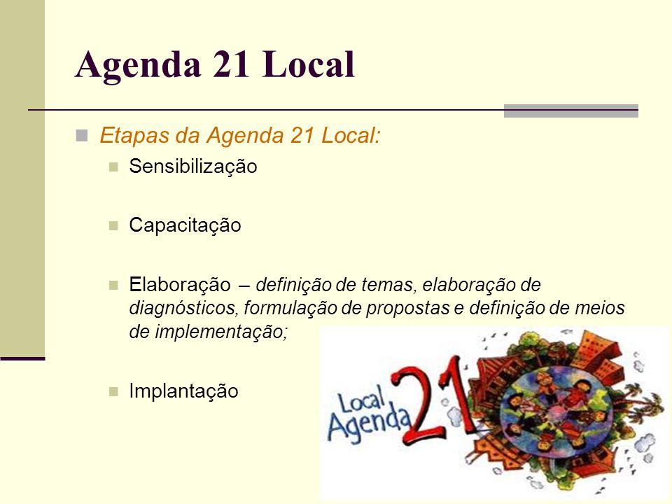 Agenda 21 Local Etapas da Agenda 21 Local: Sensibilização Capacitação Elaboração – definição de temas, elaboração de diagnósticos, formulação de propo