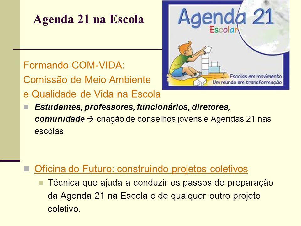 Agenda 21 na Escola Formando COM-VIDA: Comissão de Meio Ambiente e Qualidade de Vida na Escola Estudantes, professores, funcionários, diretores, comun