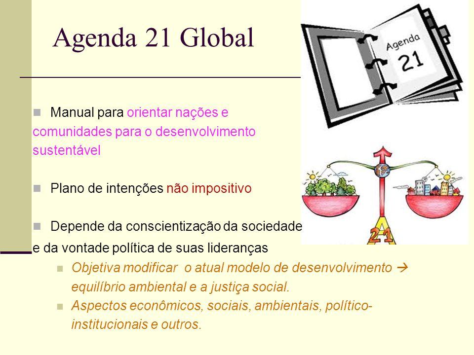 Agenda 21 Global Manual para orientar nações e comunidades para o desenvolvimento sustentável Plano de intenções não impositivo Depende da conscientiz