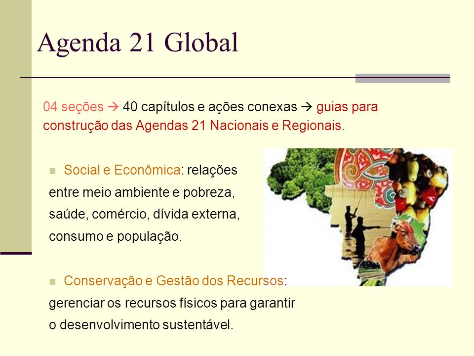Agenda 21 Global 04 seções 40 capítulos e ações conexas guias para construção das Agendas 21 Nacionais e Regionais. Social e Econômica: relações entre