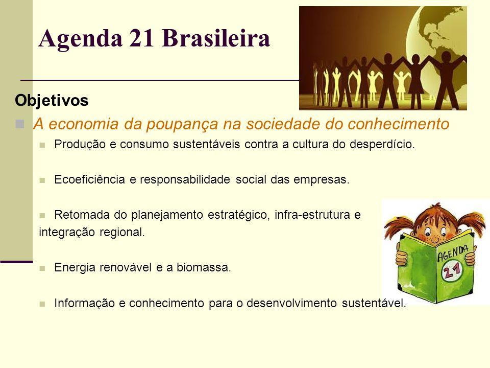Agenda 21 Brasileira Objetivos A economia da poupança na sociedade do conhecimento Produção e consumo sustentáveis contra a cultura do desperdício. Ec