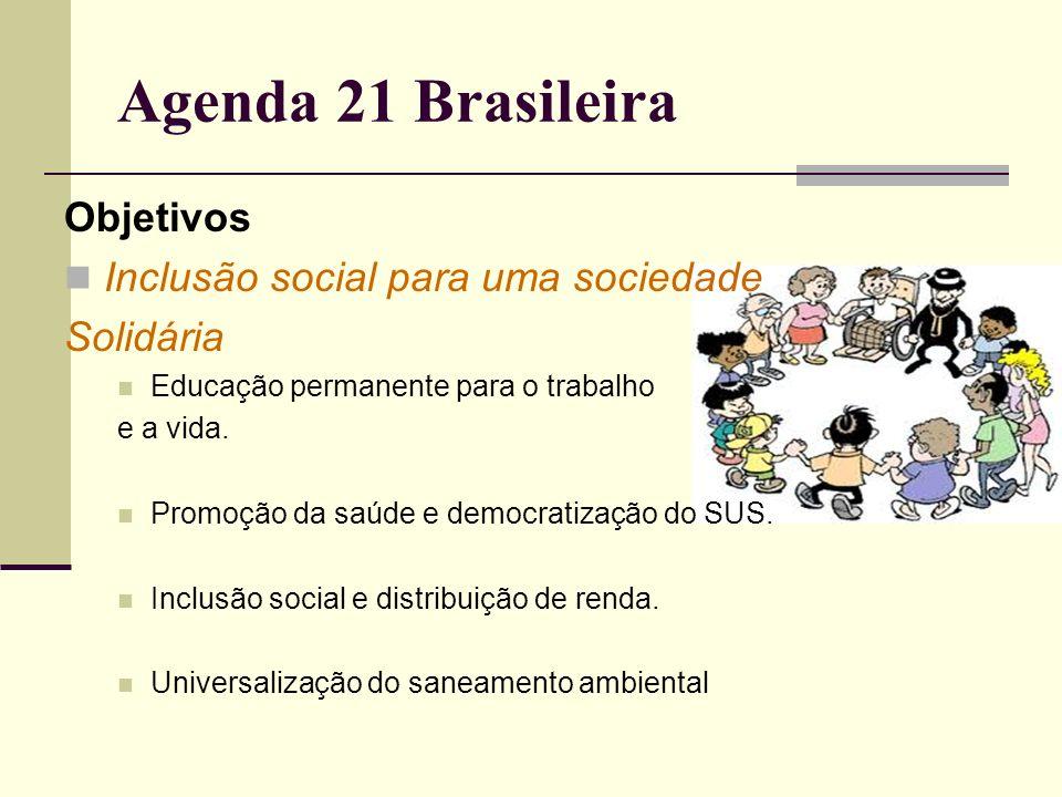 Agenda 21 Brasileira Objetivos Inclusão social para uma sociedade Solidária Educação permanente para o trabalho e a vida. Promoção da saúde e democrat