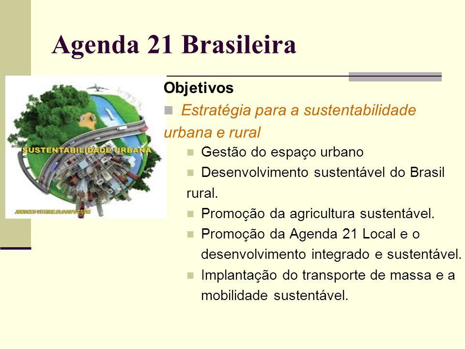 Agenda 21 Brasileira Objetivos Recursos naturais estratégicos: água, biodiversidade e florestas Preservar a quantidade e a qualidade da água nas bacias hidrográficas Política florestal, controle do desmatamento e corredores de biodiversidade.