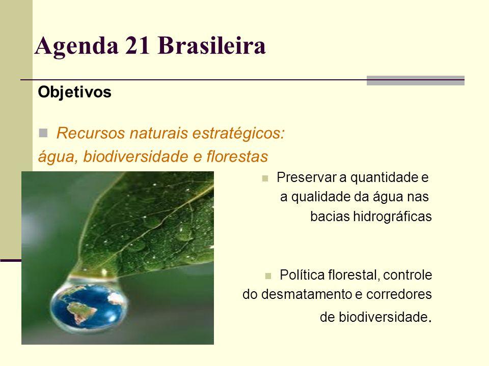Agenda 21 Brasileira Objetivos Recursos naturais estratégicos: água, biodiversidade e florestas Preservar a quantidade e a qualidade da água nas bacia
