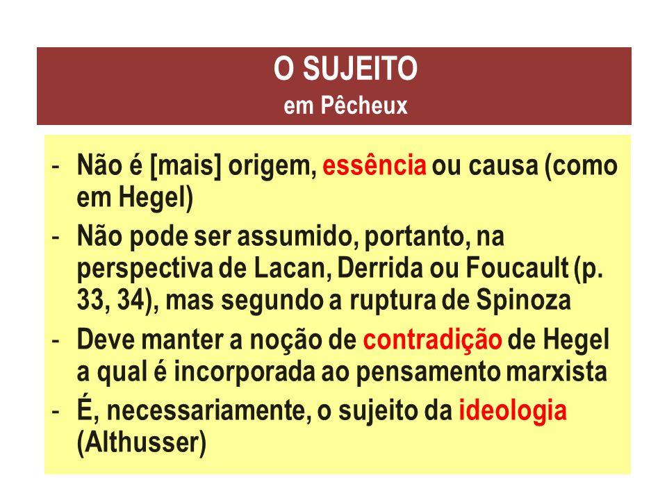 O SUJEITO em Pêcheux - Não é [mais] origem, essência ou causa (como em Hegel) - Não pode ser assumido, portanto, na perspectiva de Lacan, Derrida ou F